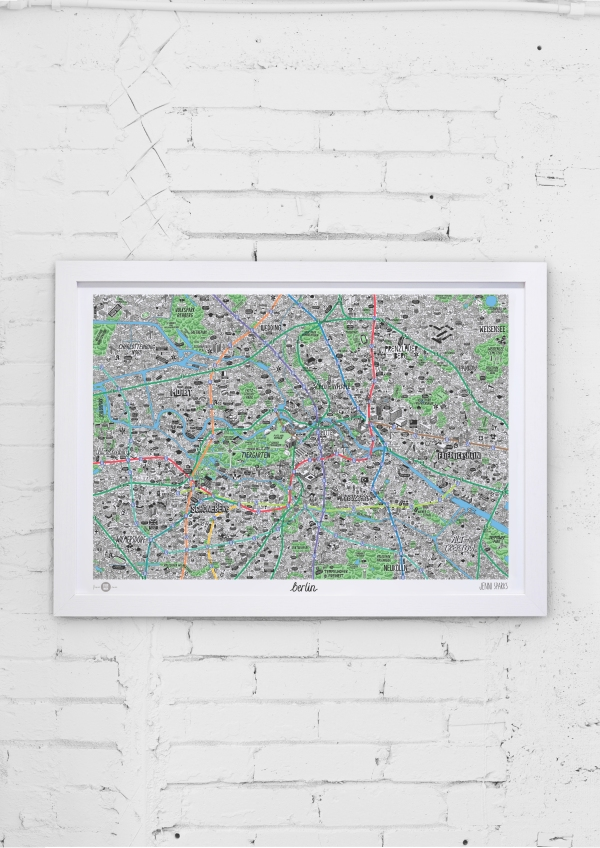 Germany Hand drawn map of Berlin art print Square-small
